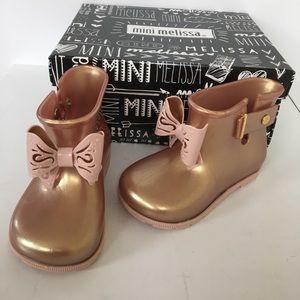 Mini Melissa Girls Metallic Pink Rain Boots Size 8